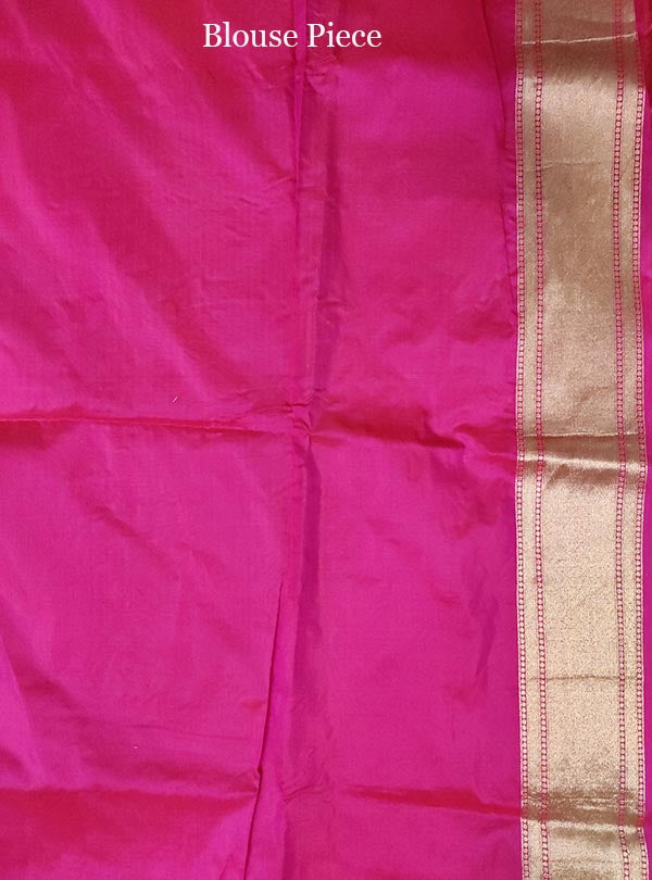 Pink Katan silk handloom Banarasi saree with flower jaal (5) blouse