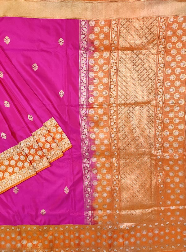Pink Katan silk handloom Banarasi saree with meenedar small flower booti (1) MAIN