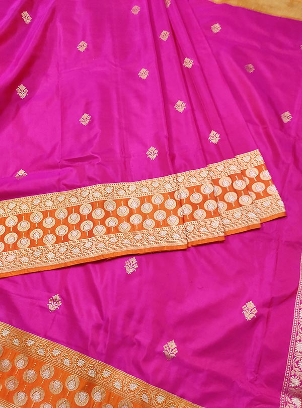 Pink Katan silk handloom Banarasi saree with meenedar small flower booti (3) CENTER