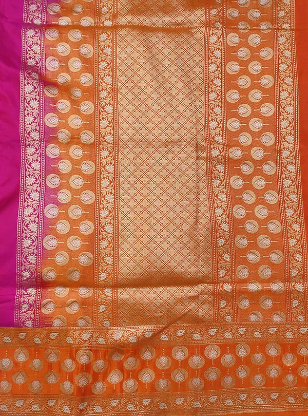 Pink Katan silk handloom Banarasi saree with meenedar small flower booti (4) ANCHAL
