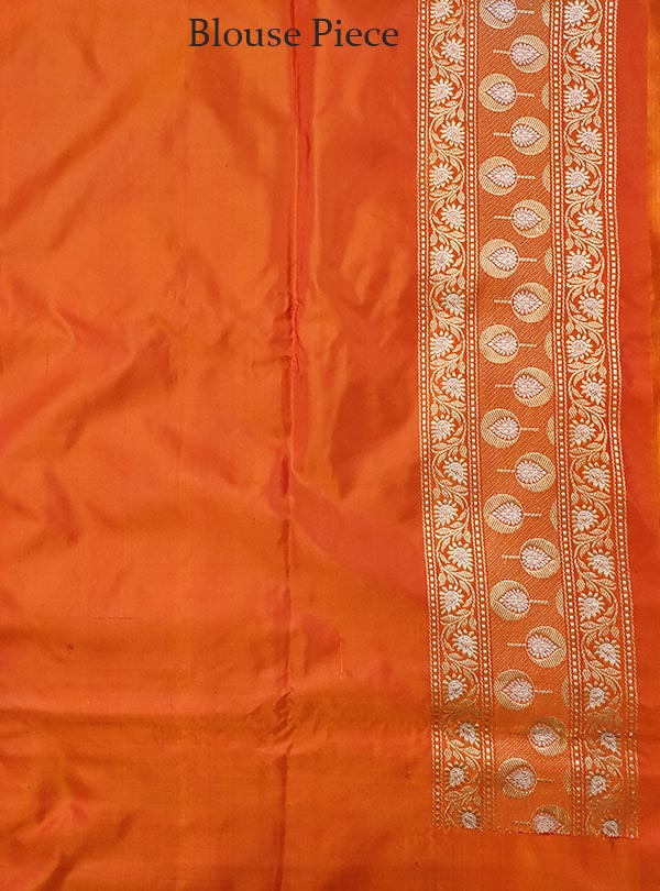 Pink Katan silk handloom Banarasi saree with meenedar small flower booti (5) BLOUSE