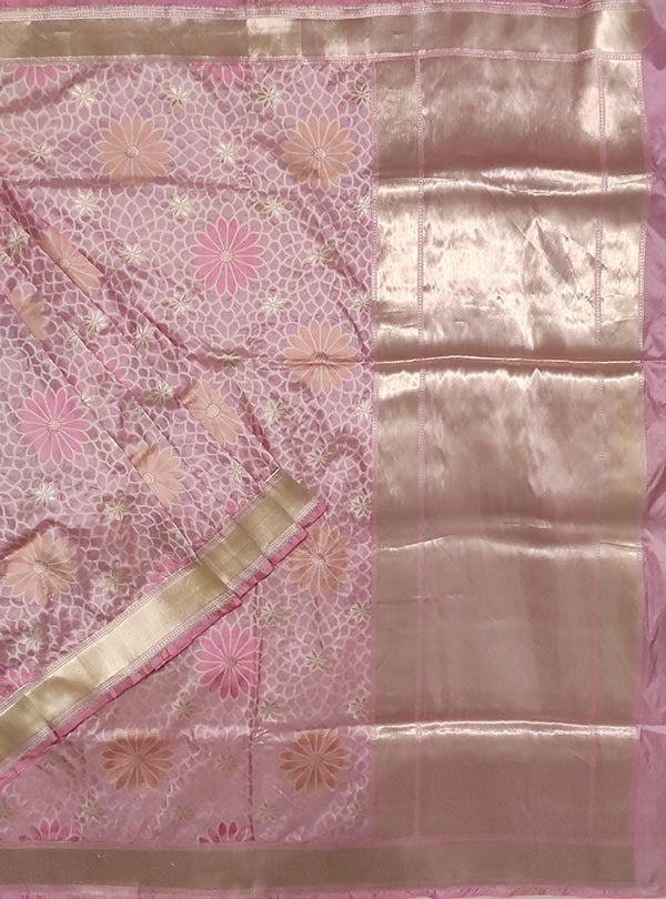 Pink Katan silk handloom Banarasi saree with multi color flower boota (1) main