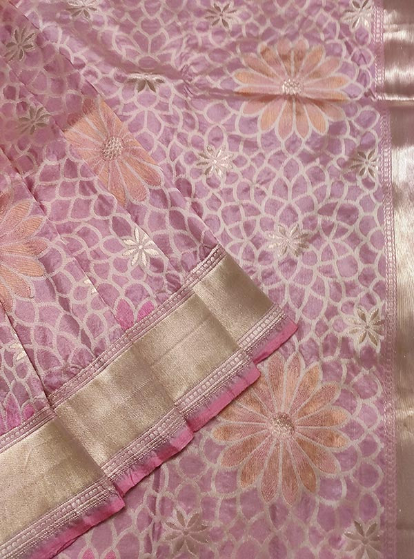 Pink Katan silk handloom Banarasi saree with multi color flower boota (2) close up