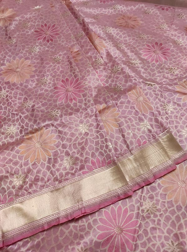Pink Katan silk handloom Banarasi saree with multi color flower boota (3) center