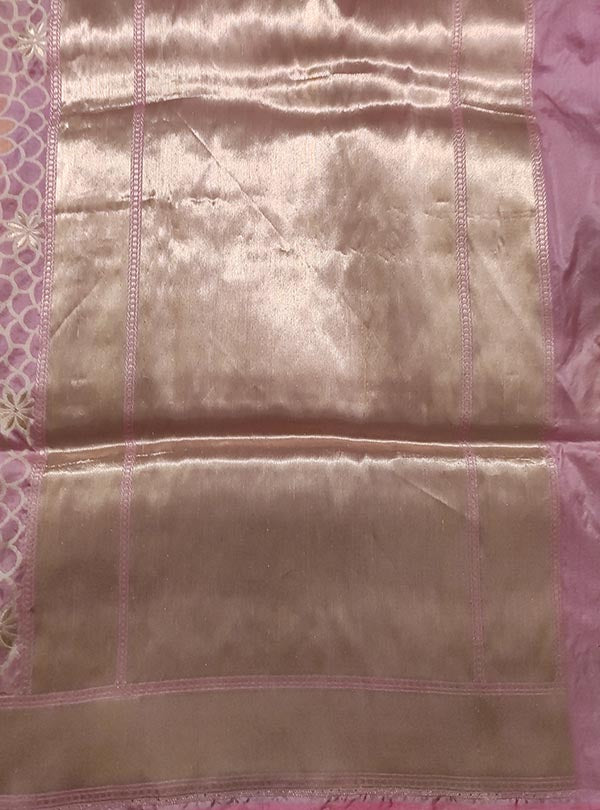 Pink Katan silk handloom Banarasi saree with multi color flower boota (4) anchal