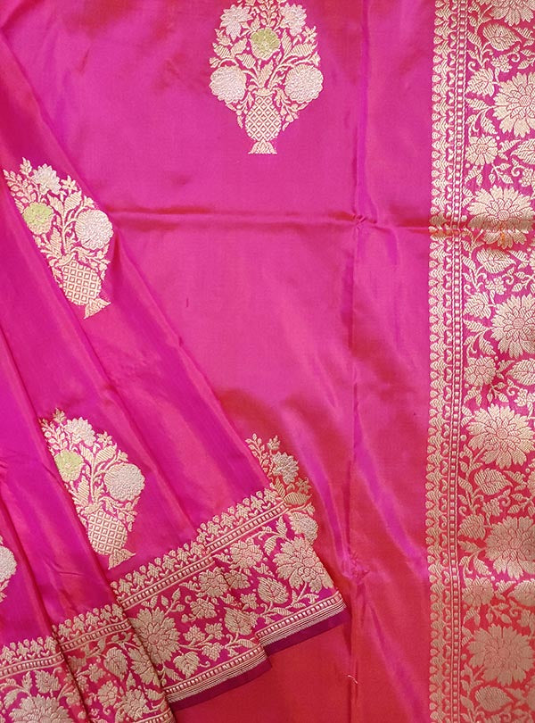 Pink Katan silk handloom Banarasi saree with multi meena flower pot boota (2) close up