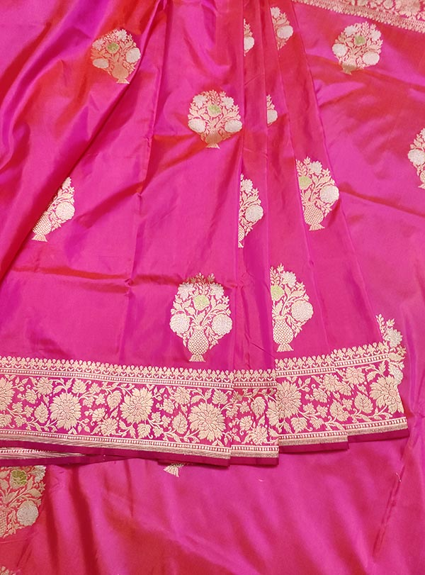 Pink Katan silk handloom Banarasi saree with multi meena flower pot boota (3) center