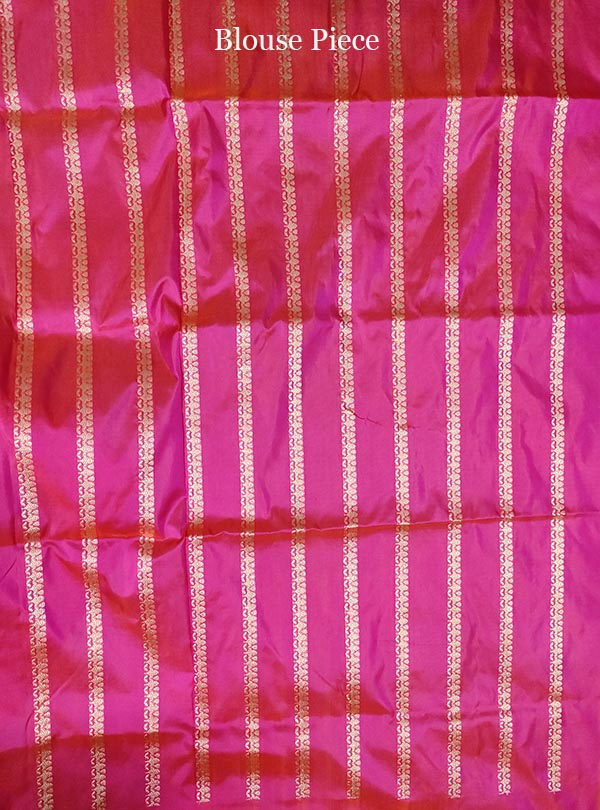 Pink Katan silk handloom Banarasi saree with multi meena flower pot boota (5) blouse