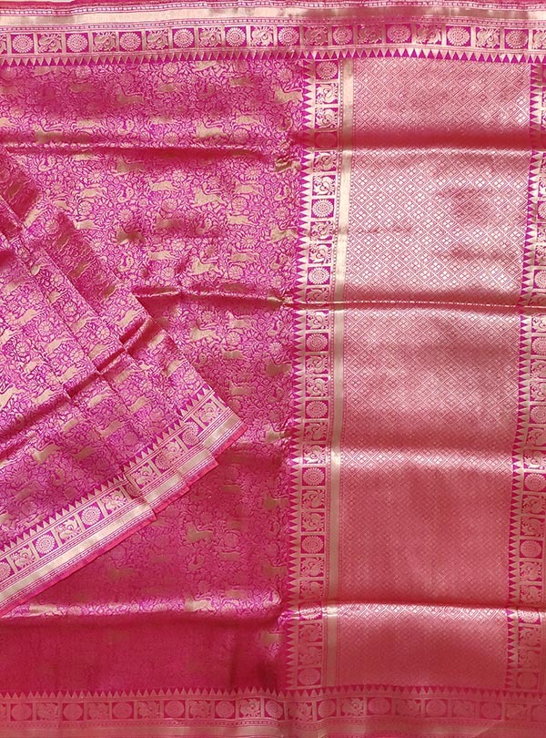 Pink Katan silk handloom Banarasi saree with shikargah jaal (1) main