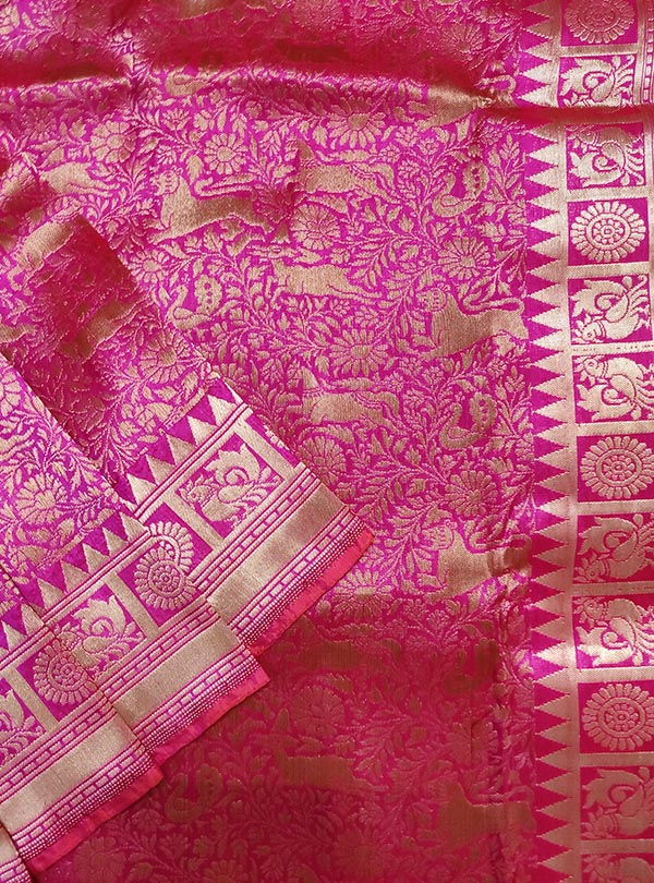 Pink Katan silk handloom Banarasi saree with shikargah jaal (2) close up