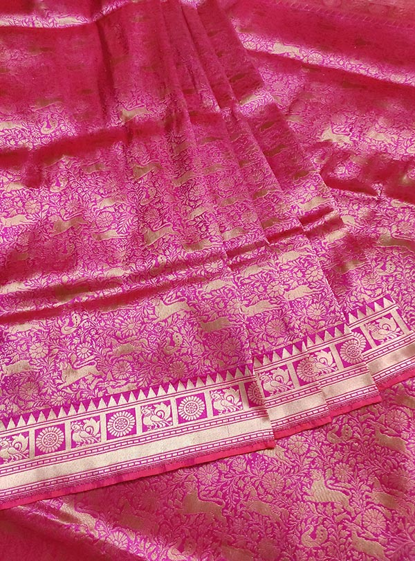 Pink Katan silk handloom Banarasi saree with shikargah jaal (3) center
