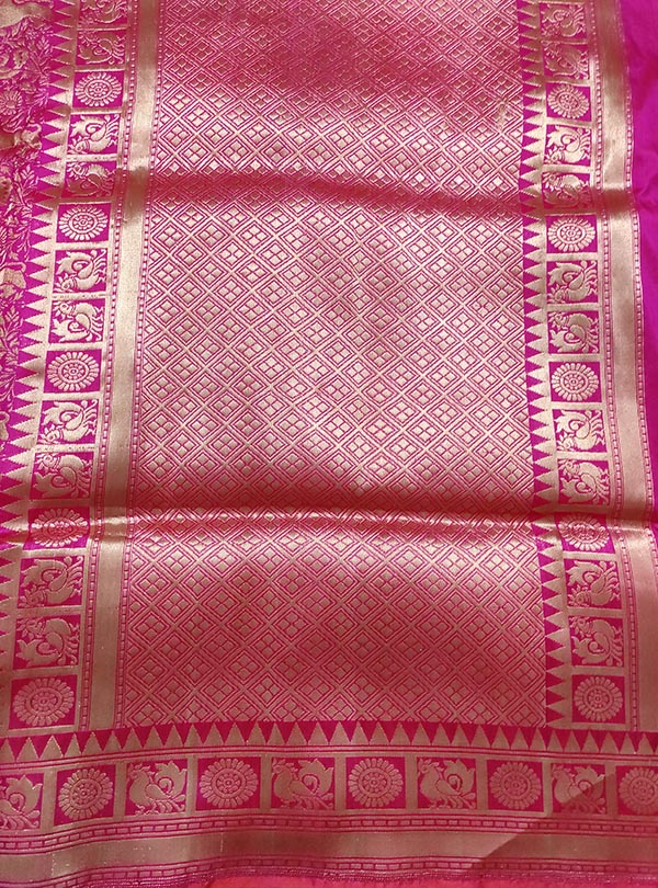 Pink Katan silk handloom Banarasi saree with shikargah jaal (4) anchal