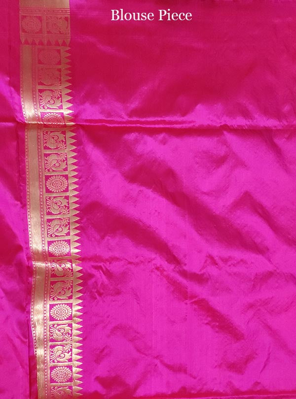 Pink Katan silk handloom Banarasi saree with shikargah jaal (5) blouse