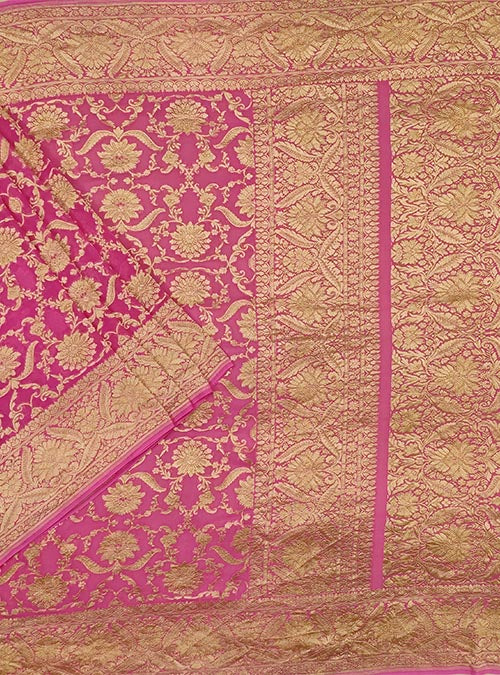 Pink Khaddi georgette Handwoven Banarasi saree with asthetic jaal (1) Main