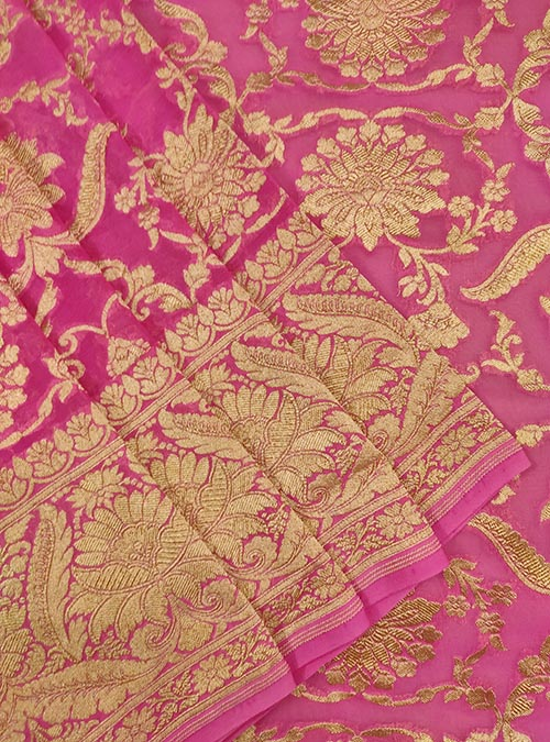 Pink Khaddi georgette Handwoven Banarasi saree with asthetic jaal (2) Close up