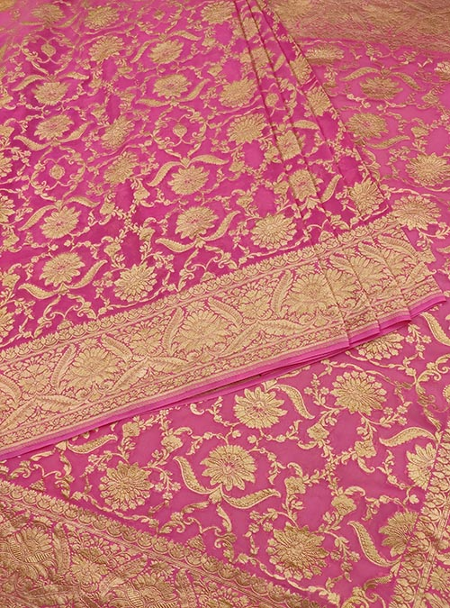 Pink Khaddi georgette Handwoven Banarasi saree with asthetic jaal (3) Center