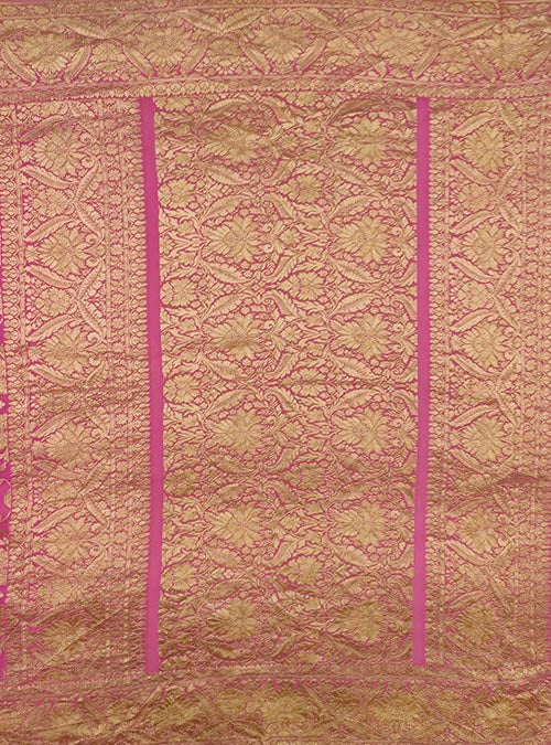 Pink Khaddi georgette Handwoven Banarasi saree with asthetic jaal (4) Anchal