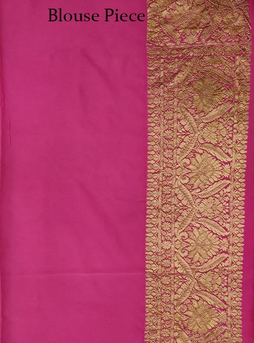 Pink Khaddi georgette Handwoven Banarasi saree with asthetic jaal (5) Blouse