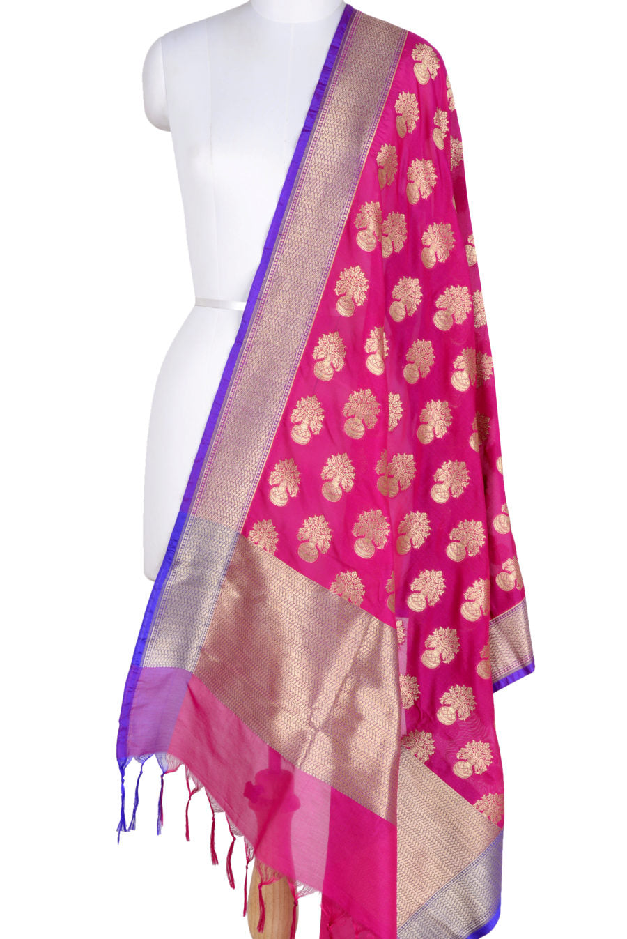 Pink Banarasi Dupatta with flower inside vase motifs (1) Main
