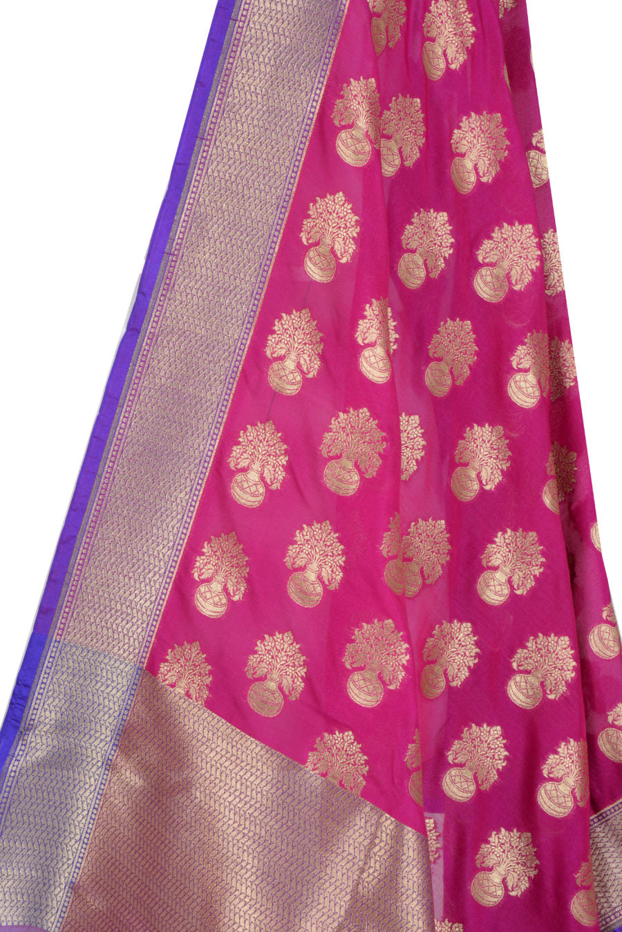 Pink Banarasi Dupatta with flower inside vase motifs (2) Closeup