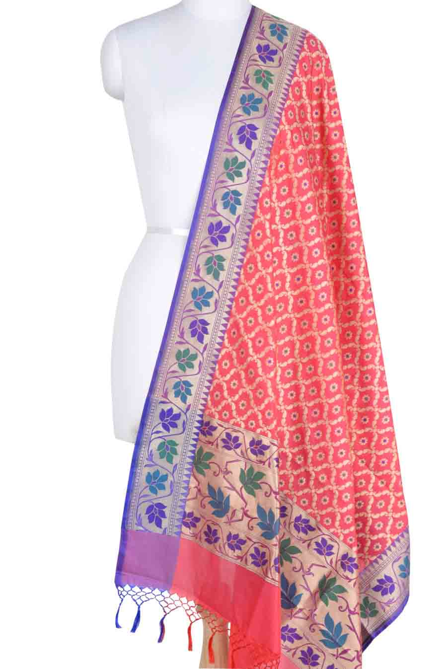 Pink Banarasi Dupatta with leaf jaal and floral motifs (1) Main