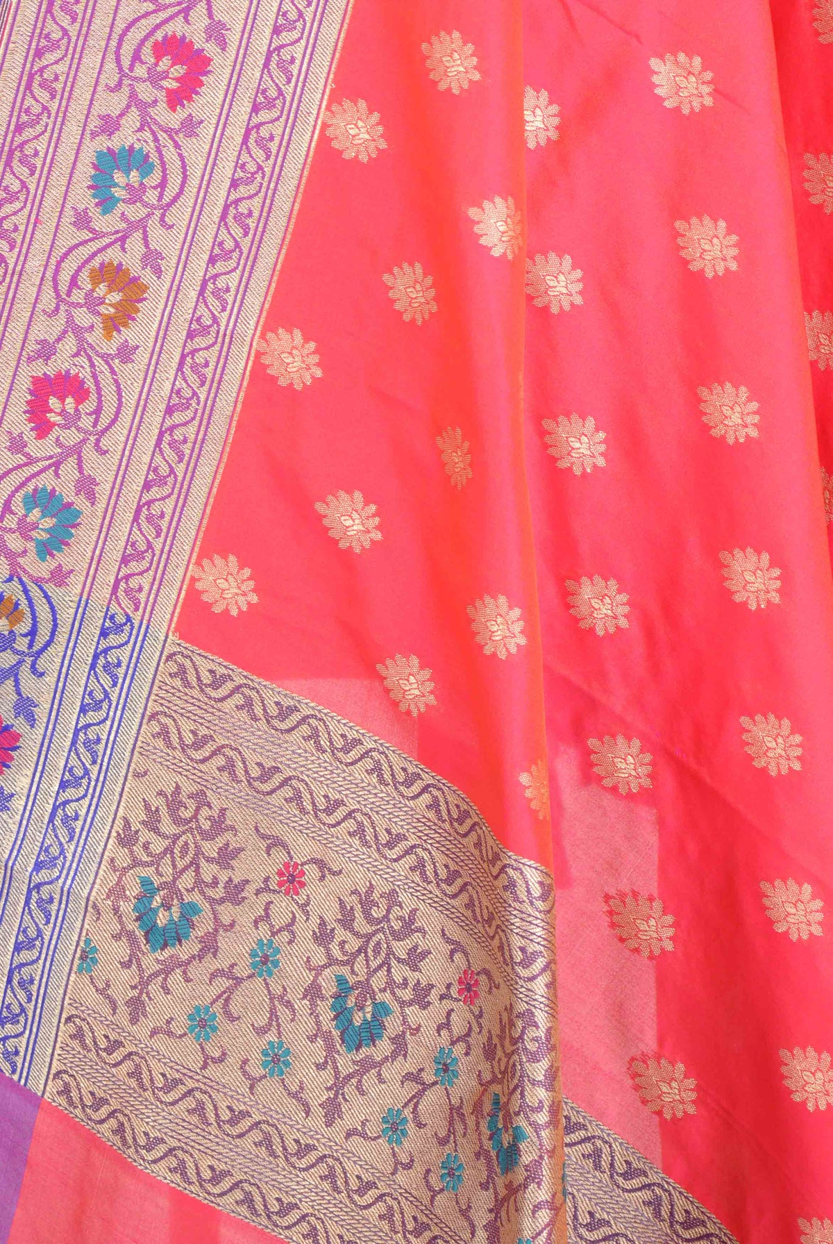Pink Banarasi Dupatta with multi color border with leaf motif (2) Closeup