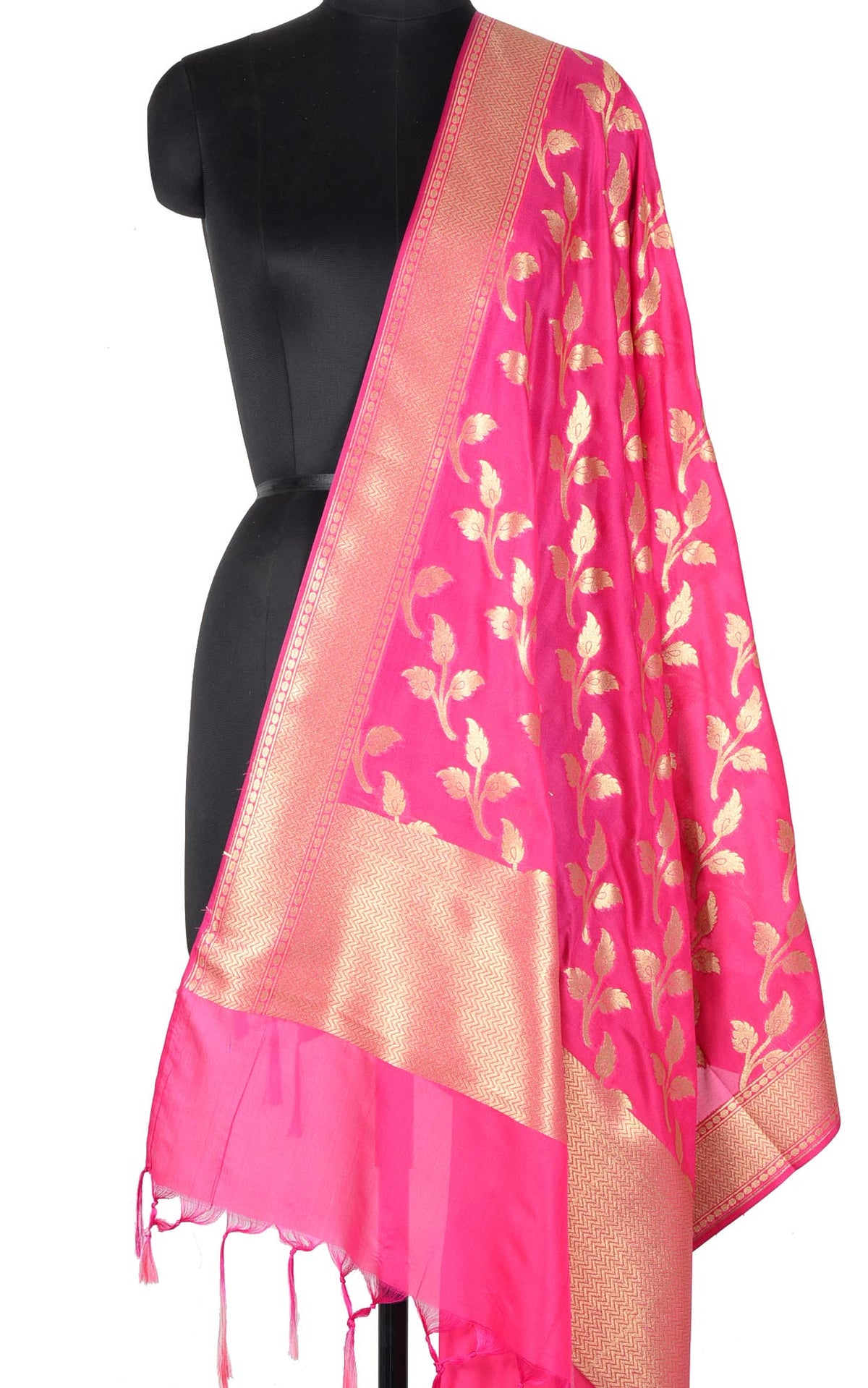 Pink Banarasi dupatta with leaf motifs (1) Main