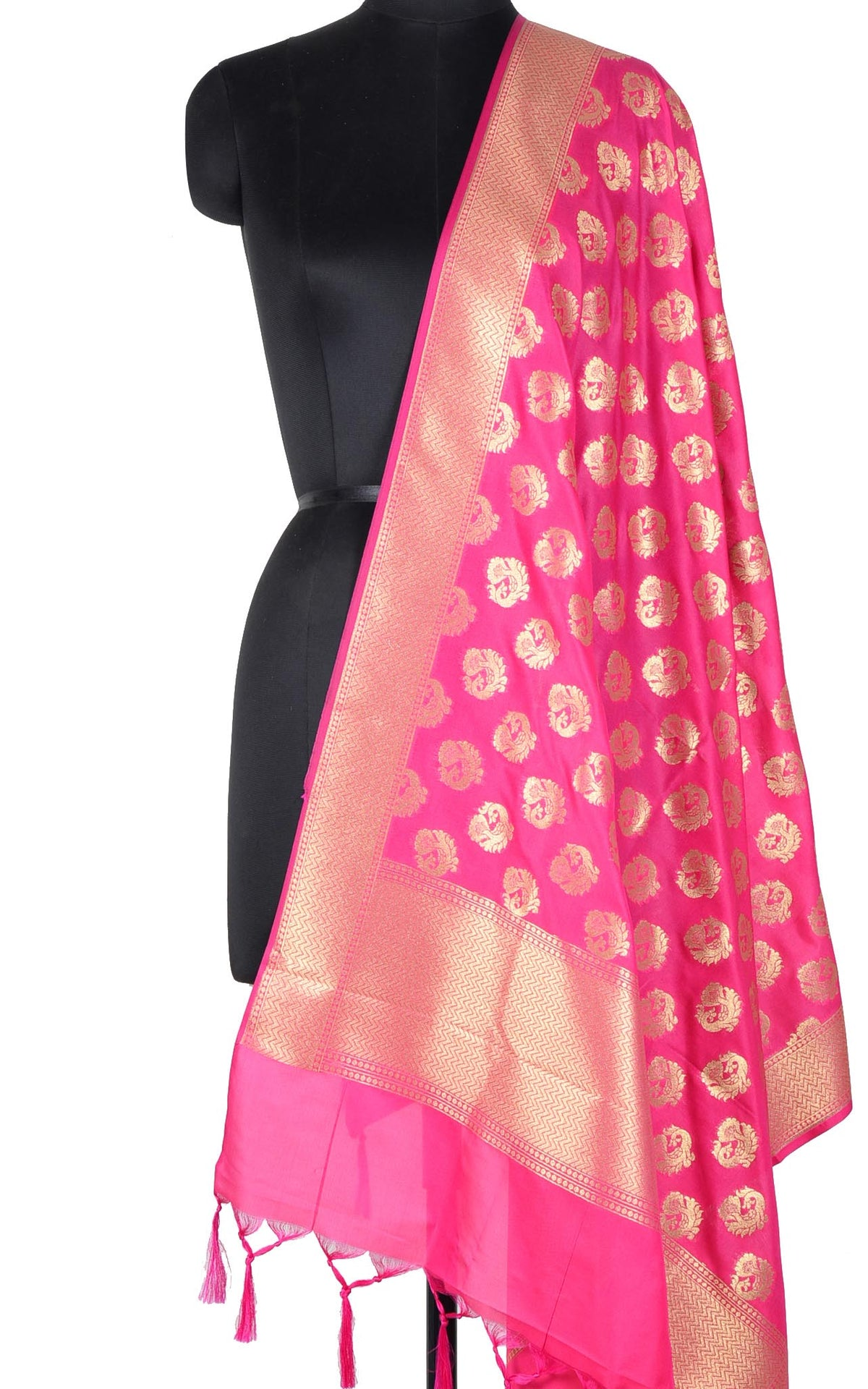 Pink Banarasi dupatta with peacock motifs (1) main