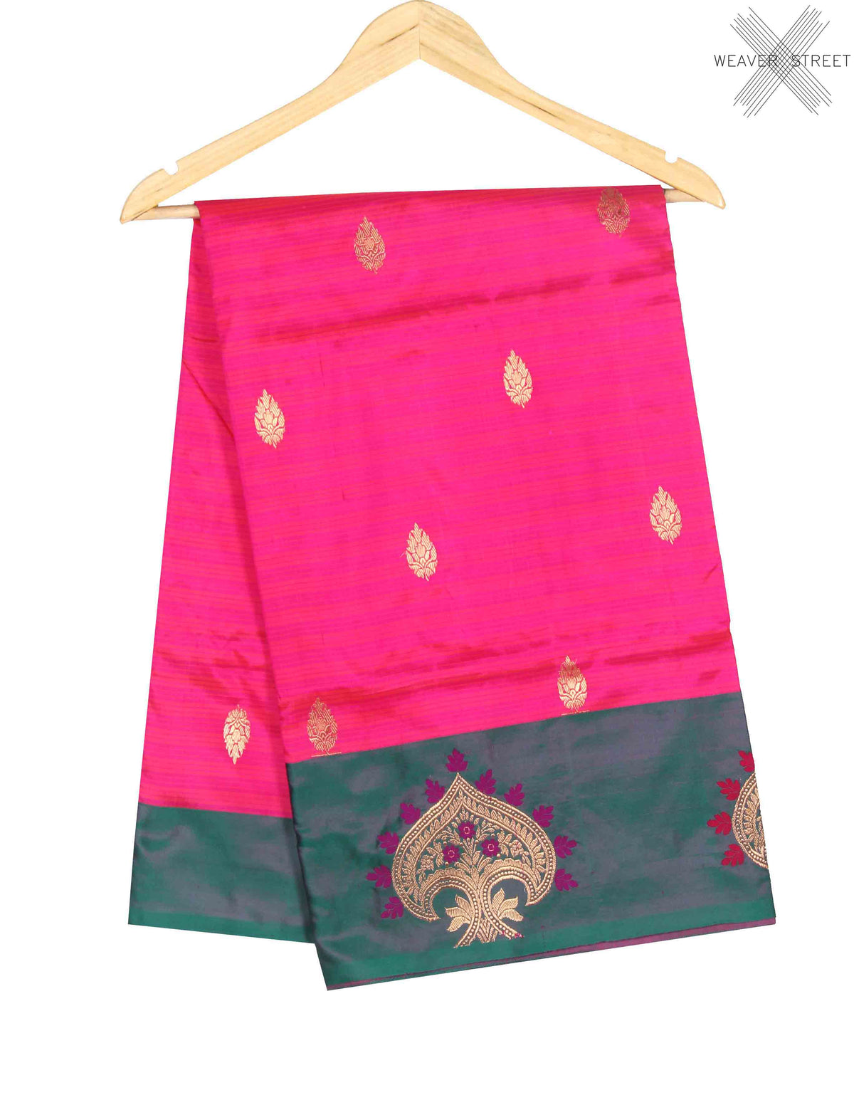 Pink Katan Silk Handwoven Banarasi saree with kalgi border (1) Main
