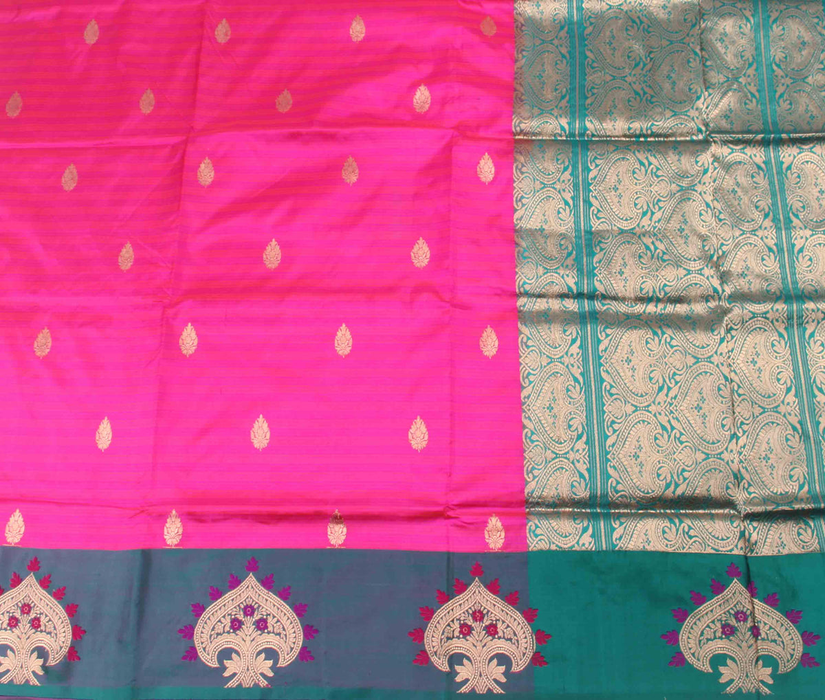 Pink Katan Silk Handwoven Banarasi saree with kalgi border (2) Flat