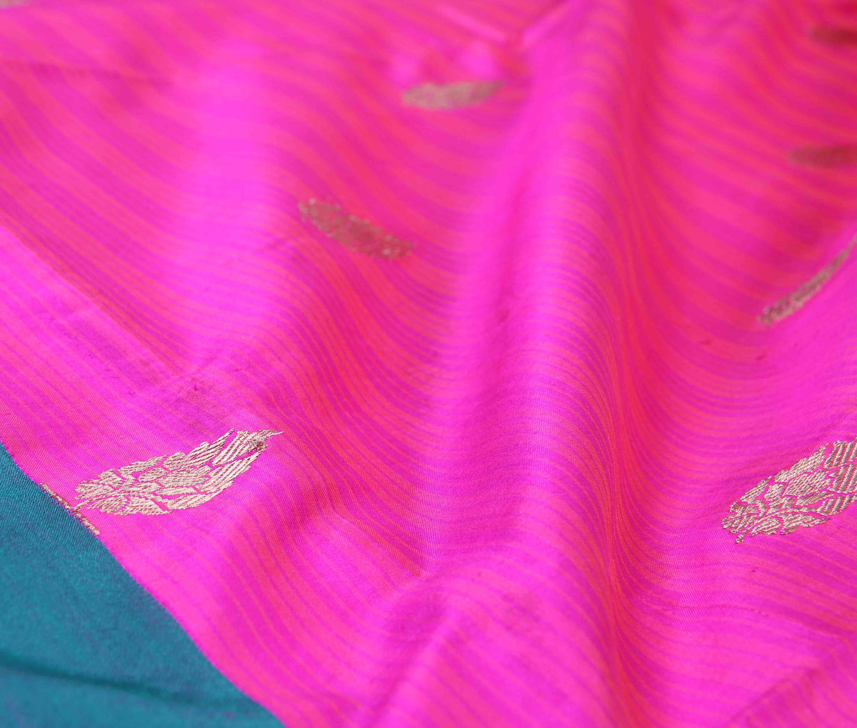 Pink Katan Silk Handwoven Banarasi saree with kalgi border (3) Close up