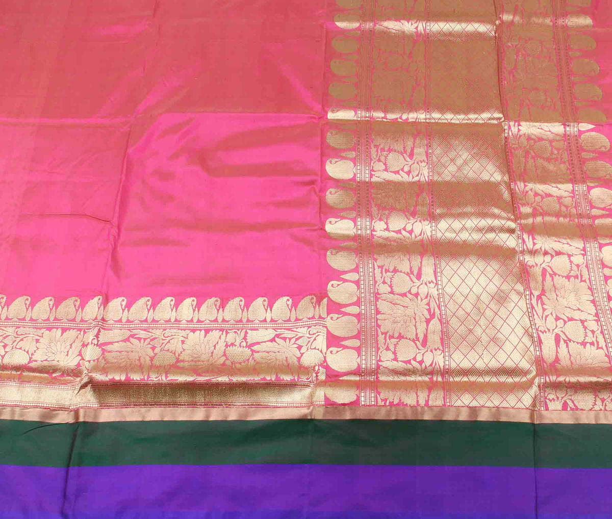 Pink Katan silk handwoven plain banarasi saree with paisley border (2) flat