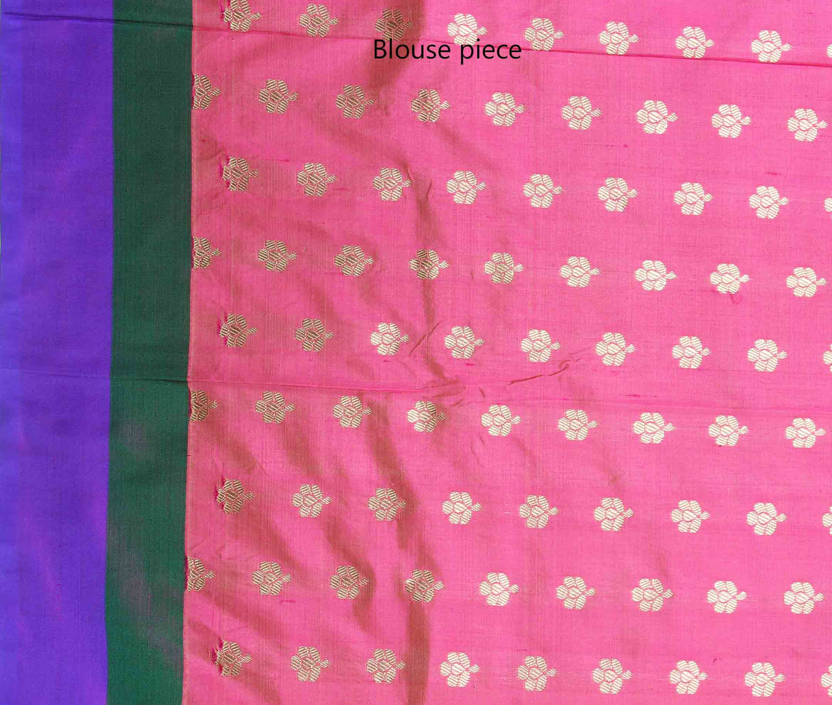 Pink Katan silk handwoven plain banarasi saree with paisley border (4) blouse