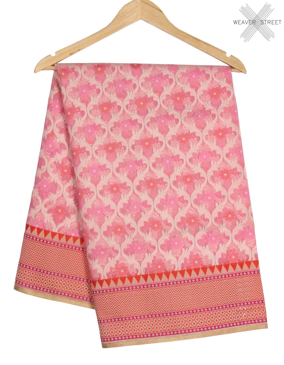 Pink kora Banarasi saree with resham ogee jaal (1) main