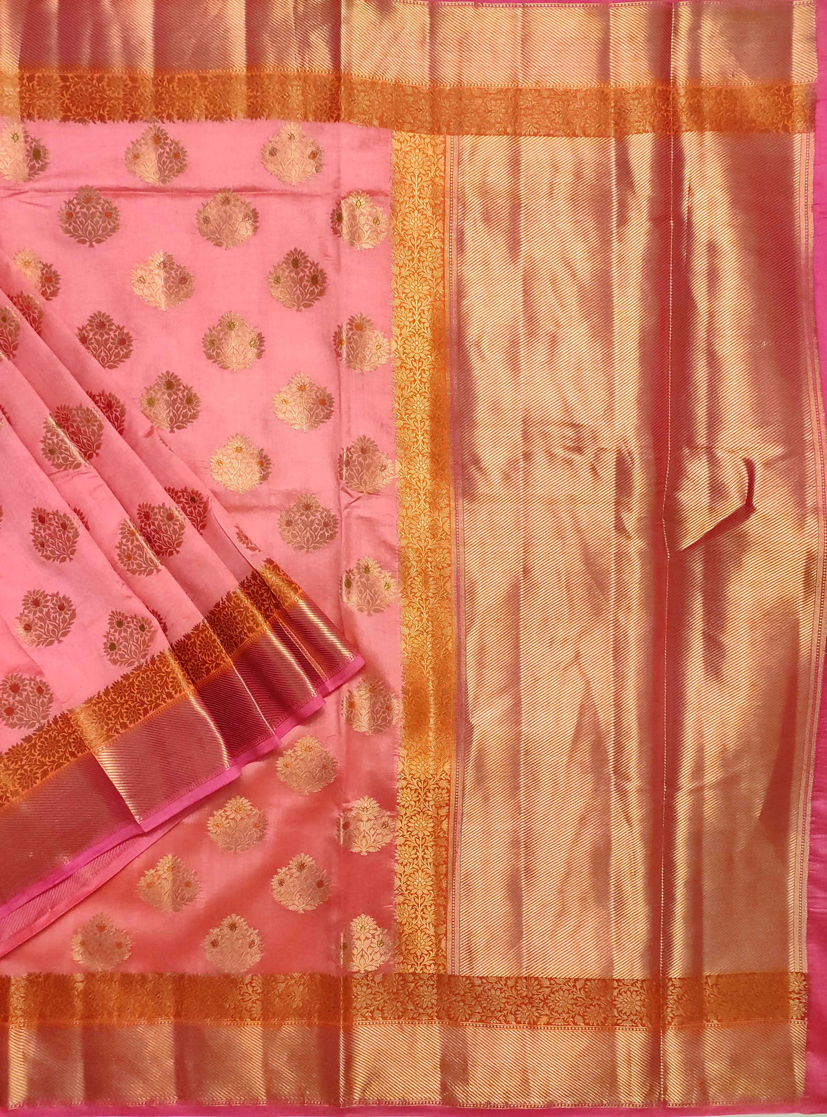 Pink muga chiniya silk Banarasi saree with handpainted meenedar flower booti (1) Main