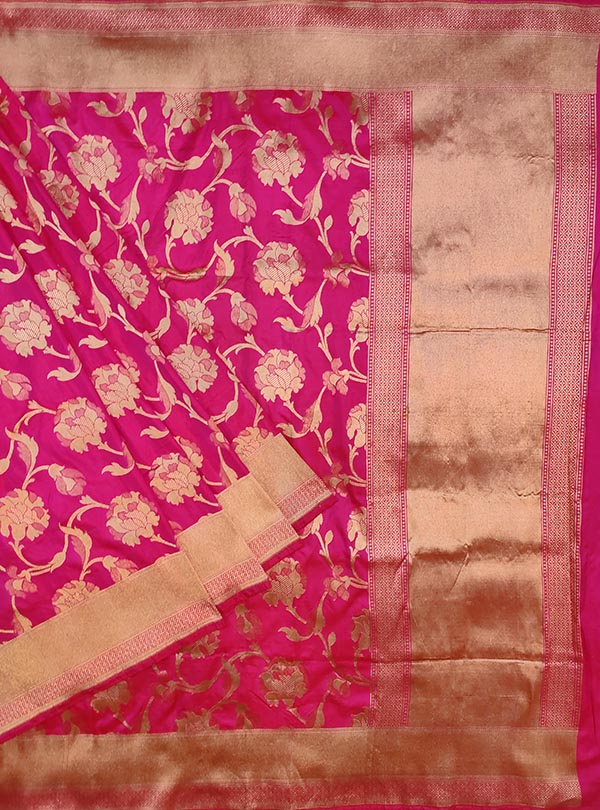 Pink katan silk Banarasi saree with elegant flower jaal (1) main