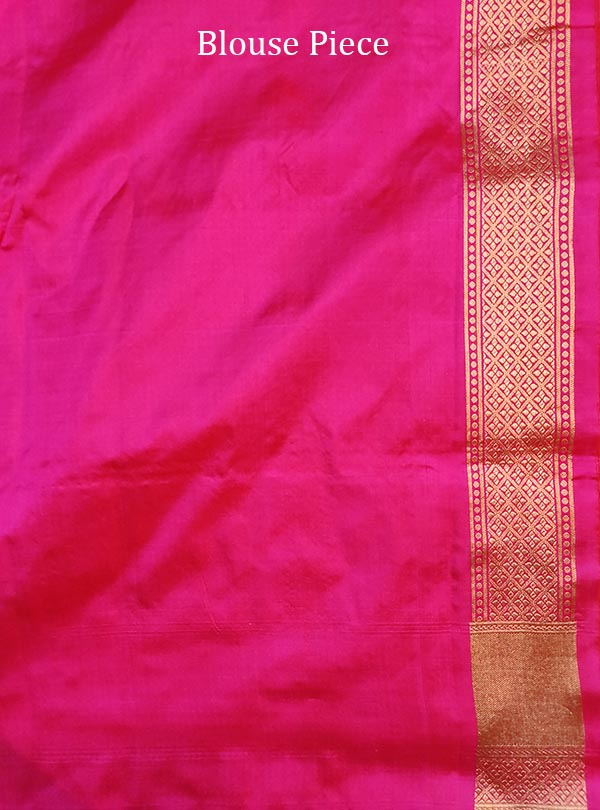 Pink katan silk Banarasi saree with elegant flower jaal (5) blouse