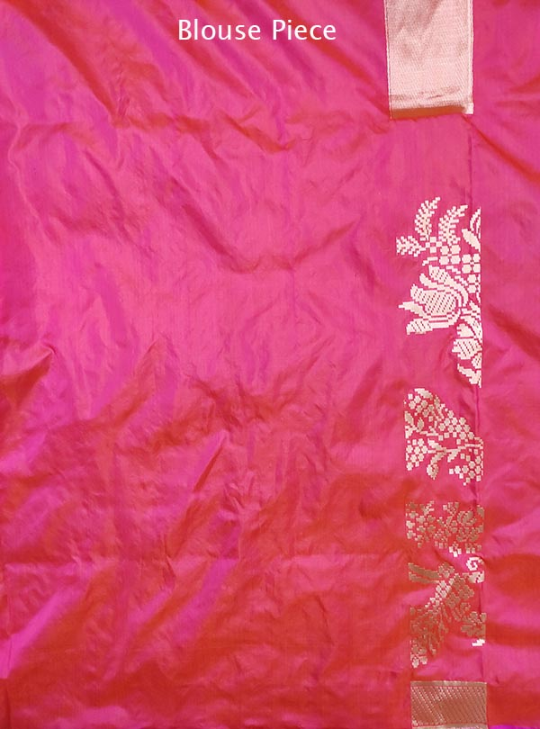 Pink katan silk Banarasi saree with stylized floral jaal over skirt (5) blouse