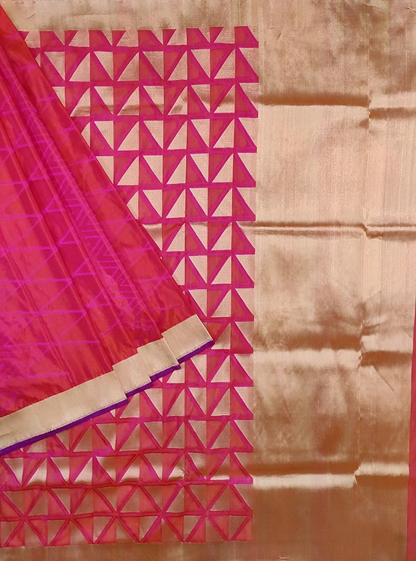 Pink katan silk handloom Banarasi saree with geometrical patterns (1) Main
