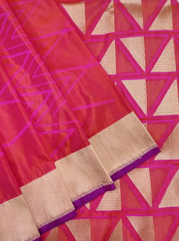 Pink katan silk handloom Banarasi saree with geometrical patterns (2) Close up