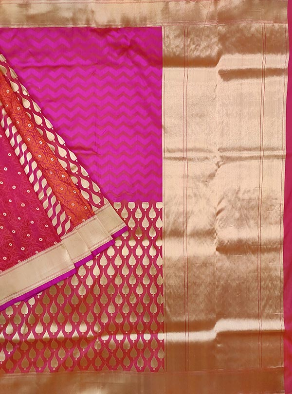 Pink katan silk handloom Banarasi saree with multiple patterns (1) Main