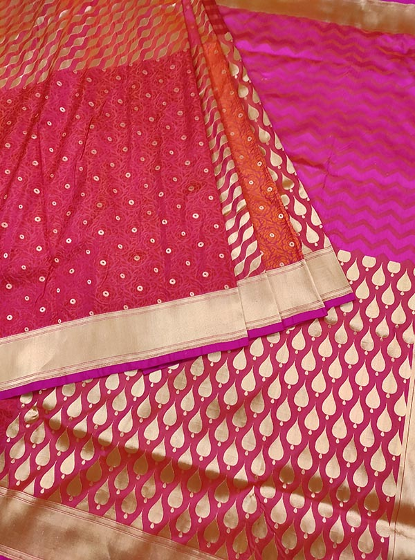 Pink katan silk handloom Banarasi saree with multiple patterns (3) Center