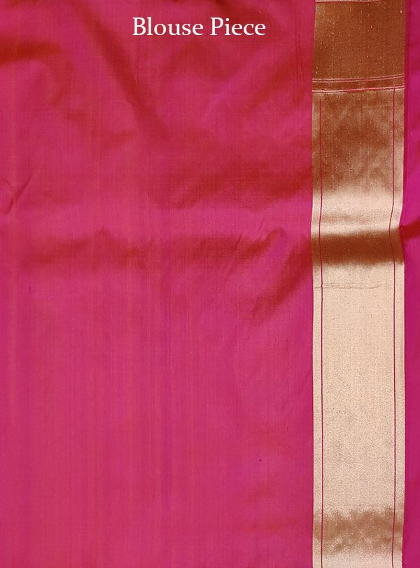 Pink katan silk handloom Banarasi saree with multiple patterns (5) Blouse