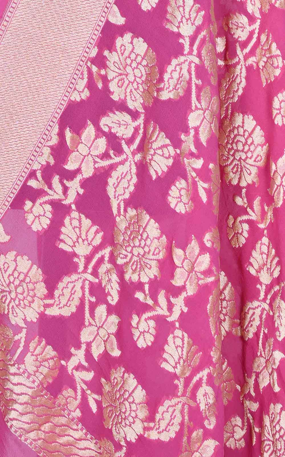 Pink khaddi georgette Banarasi dupatta with floral jaal (2) Close up