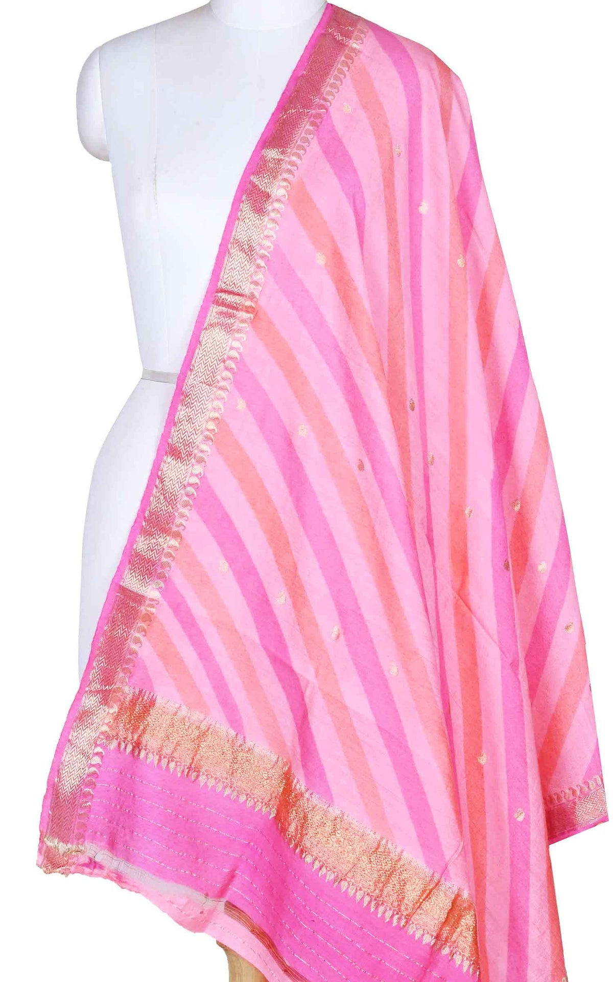Pink lehariya muga silk Banarasi dupatta with diagonal strripes (1) Main