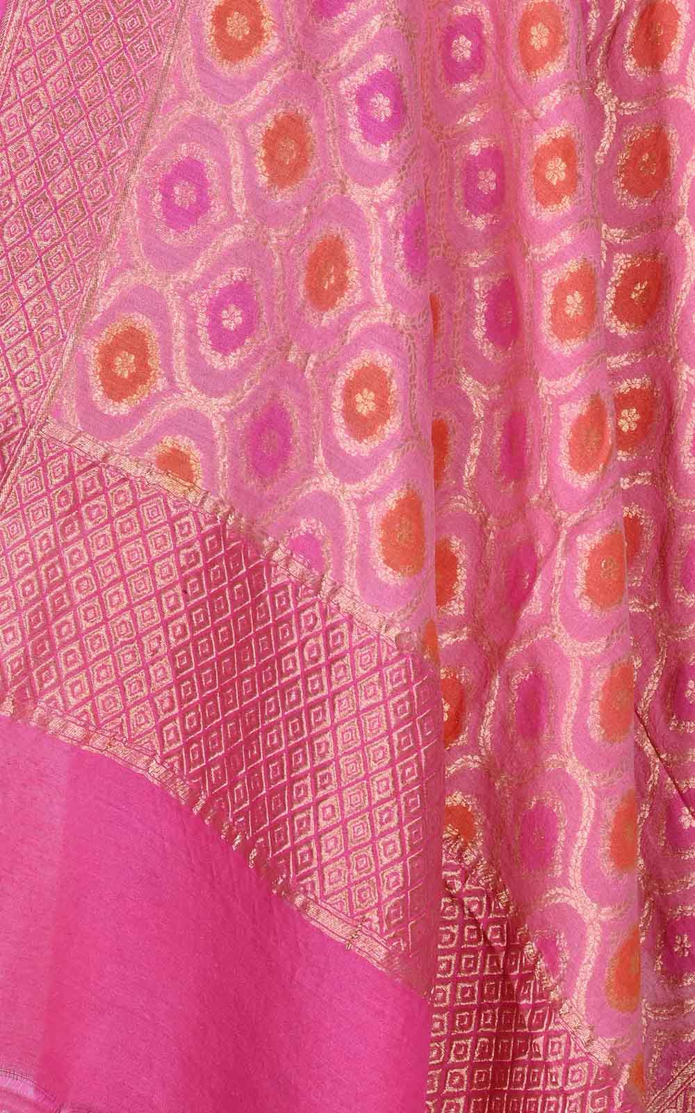 Pink muga silk Banarasi dupatta with meenedar ogee jaal (2) Close up