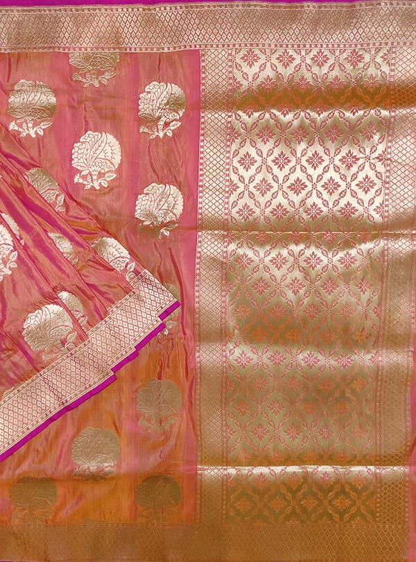 Pink orange katan silk handloom Banarasi saree with flower boota (1) main