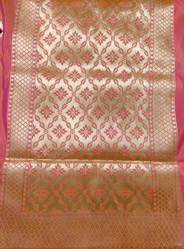 Pink orange katan silk handloom Banarasi saree with flower boota (4) anchal