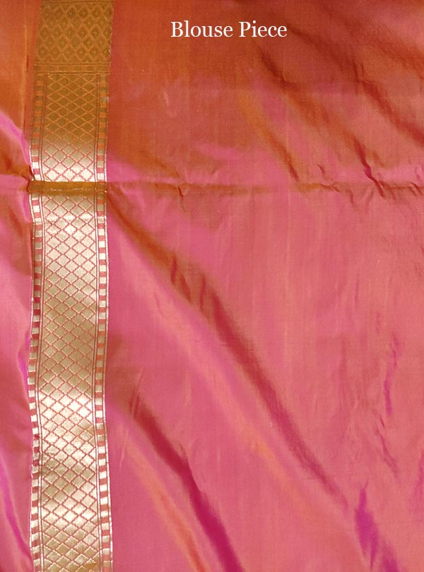 Pink orange katan silk handloom Banarasi saree with flower boota (5) blouse
