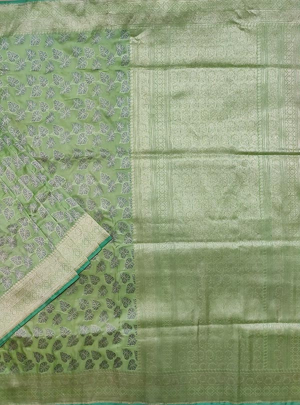 Pista green katan silk handloom Banarasi saree with money plant jaal (1) main